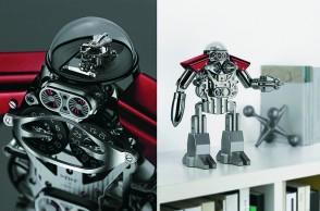 مزاد MB&F Melchior - only watch   ساعة عرض على شكل رجل آلي تتمتع بمخزون للطاقة من 40 يوماً. الآلية الضابطة وُضعت على أعلى الرأس لترمز إلى الدماغ المفكر. المجسّم مصنوع من الفولاذ.