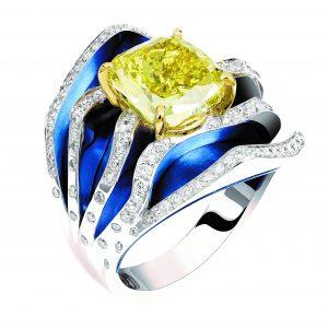 خاتم Surf من لورنز بومر بالتيتانيوم والذهب الأبيض، مرصع بالماس الشفاف والأصفر