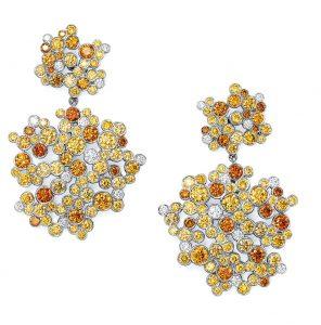 تيفاني أند كو أقراط مرصعة بالماس الأصفر المستدير. Tiffany & Co. Earrings of round yellow diamonds.
