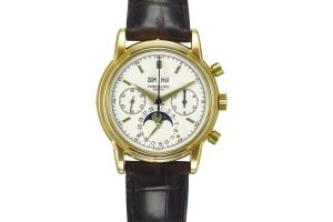 Lot 184 PATEK PHILIPPE. AN EXTREMELY FINE AND RARE 18K GOLD PERPETUAL CALENDAR CHRONOGRAPH WRISTWATCH