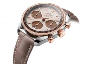 """ساعة Omeg Speedmaster 38 mm """"Cappuccino"""" بذهب سيدنا الوردي الخاص بالدار مع ترصيع ماسي"""