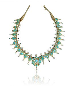 A turquoise-set and enamelled gold necklace, North India, 19th century (est. £7,000-10,000)