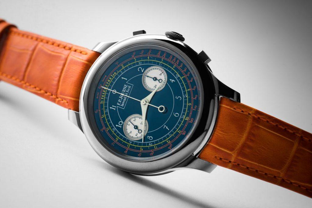 ساعة Chronographe Monopoussoir Rattrapante Bleu من دار F.P. Journe
